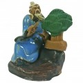 Chinese Figurine - Man with Bonsai - 6cm - Light Blue