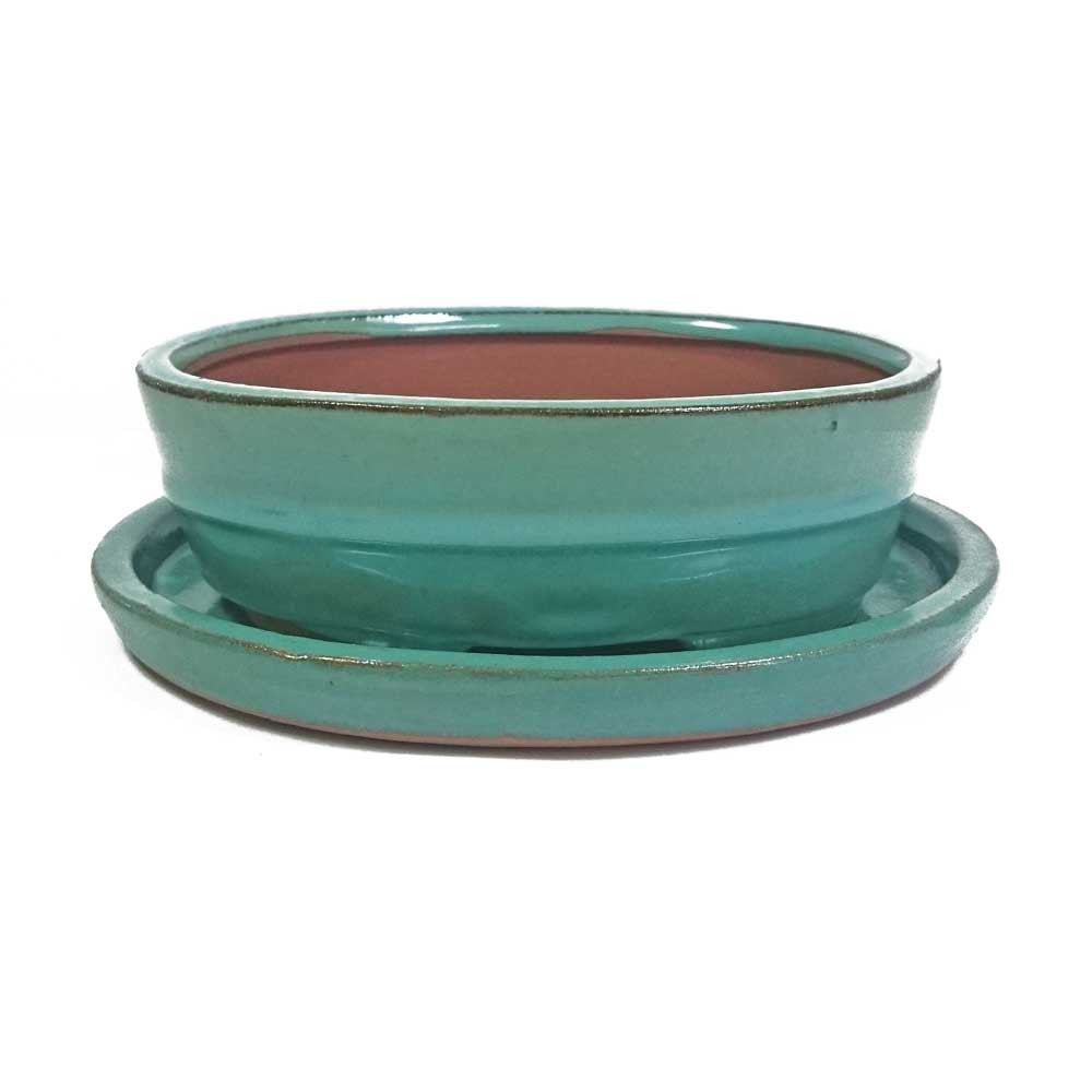 15cm Bonsai Pot With Tray Green Oval