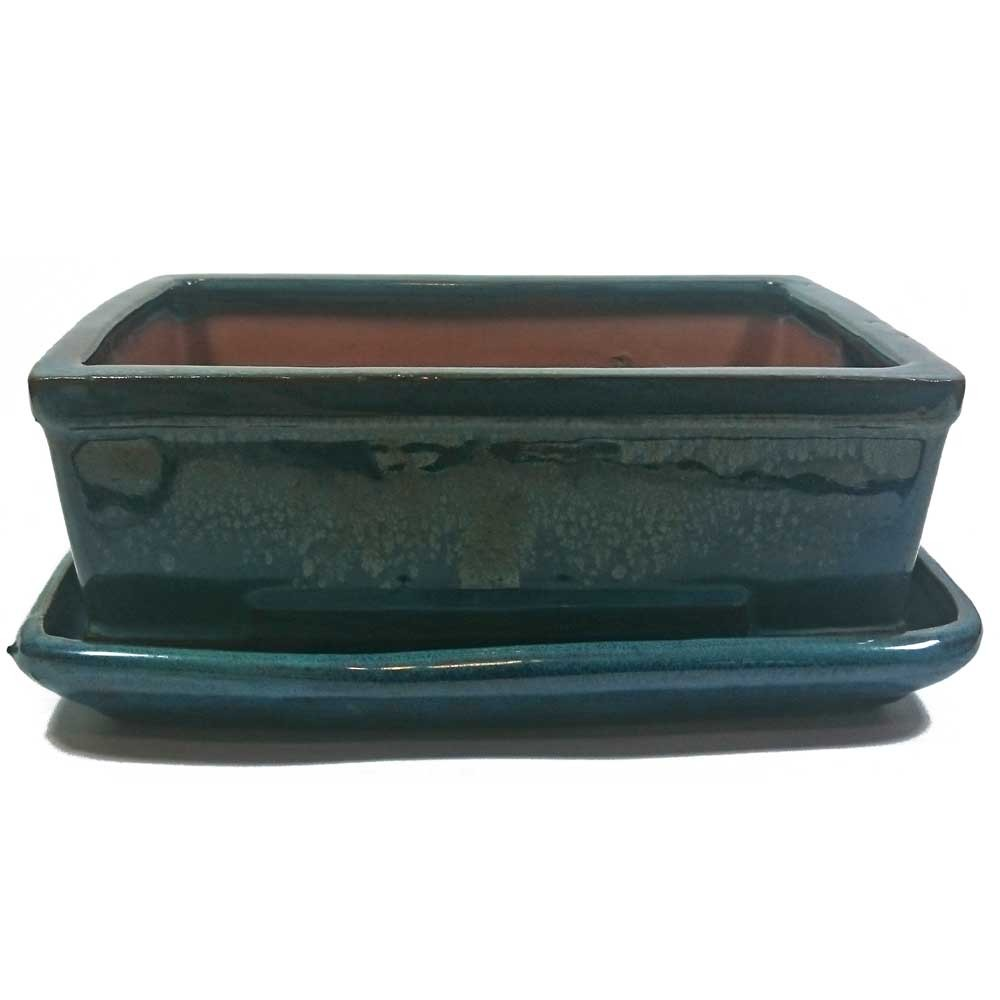 21cm Bonsai Pot With Tray Turquoise Rectangle
