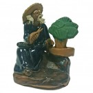 Chinese Figurine - Man with Bonsai - 6cm - Dark Blue