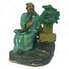 Chinese Figurine - Man with Bonsai - 6cm - Green