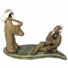 Chinese Figurine - Two Men on a Banana Leaf - 5cm Tall (d3)