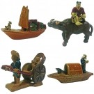 Set of 4 Chinese Adventure Traveller  Bonsai Figurines
