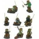 Set of 8 Chinese Fisherman Bonsai Figurines - Plenitude Range