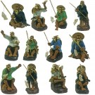 Set of 12 Chinese Fisherman Bonsai Figurines - Harmony Range