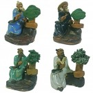Set of 4 Bonsai Artist Chinese Figurines