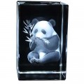 Chinese Panda Etched Crystal Ornament