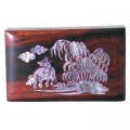 11cm Polished Mahogany Box - Village Scenery