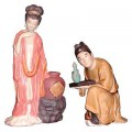 Yang Guifei with Servant -  Shiwan Pottery Figures