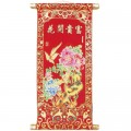 Birds and Flowers Red and Gold Chinese Wall Scroll