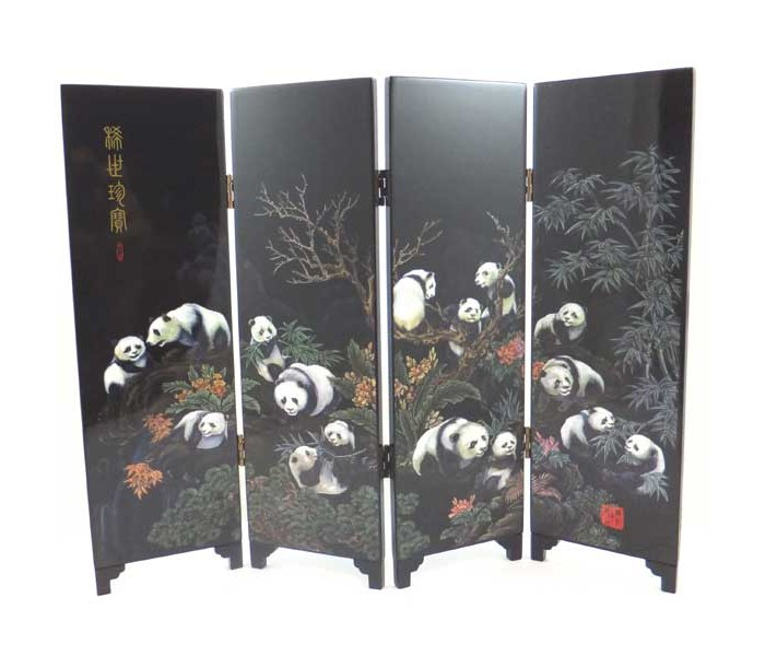 Chinese Giant Panda Design Tabletop Screen Oriental
