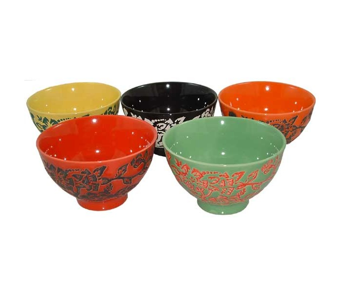 Chinese Rice Bowl Gift Set Floral Designs Oriental