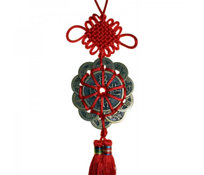 12 Chinese Coins On A Red Hanging Ribbon Oriental Gifts