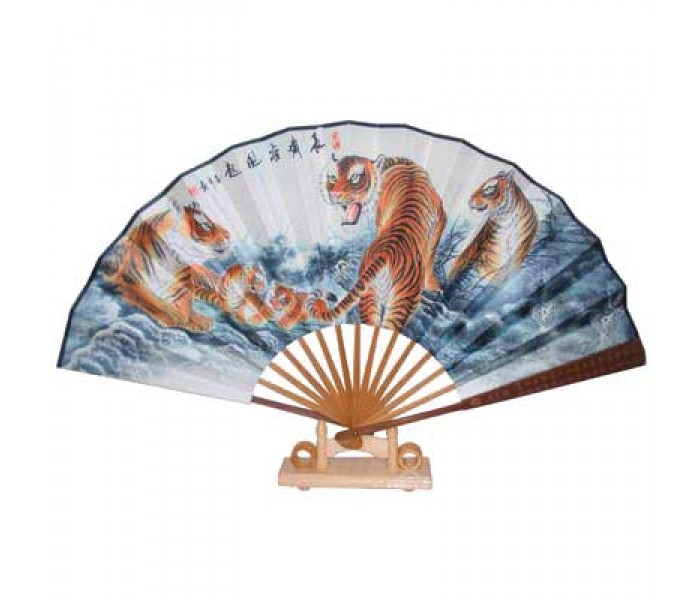 Chinese Fan Stand : Chinese fan with stand tiger design oriental gifts