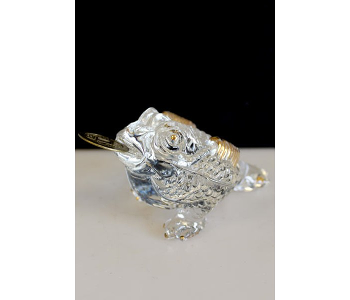 Crystal 3 Legged Money Frog Toad Large With Coin