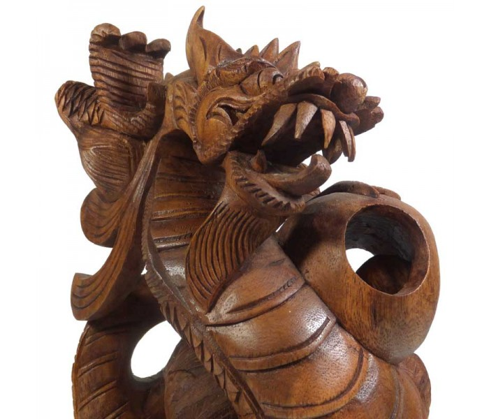 Chinese Dragon Wooden Carving 32cm Tall Oriental Gifts