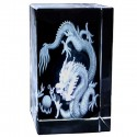 Dragon with Pearl Etched Crystal Ornament