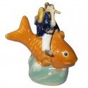 Chinese Figurine - Man Sitting on Fish - 7cm