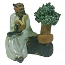 Chinese Figurine - Man with Bonsai - 6cm - White / Cream