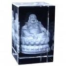 Laughing Buddha Engraved Crystal Ornament