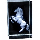 Rampant Horse Engraved Crystal Ornament