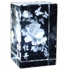 Peony with Butterflies Engraved Crystal Ornament - Gift Boxed
