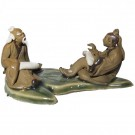 Chinese Figurine - Two Men on a Banana Leaf - 3.5cm Tall (d1)