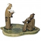 Chinese Figurine - Two Men on a Banana Leaf - 5cm Tall (d4)
