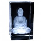 Meditating Buddha Etched Crystal Ornament - Gift Boxed