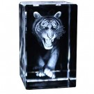 Prowling Tiger Engraved Crystal Ornament - Head On