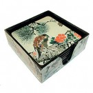 Square Chinese Coasters - Birds and Flowers