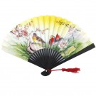 Chinese Decorated Paper Fan 23cm - Dark Wood Frame