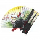 Chinese Decorated Paper Fans 5 Pack - Dark Wood Frame