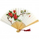 Chinese Decorated Paper Fan 23cm - Natural Wood Frame