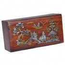 19.5cm Polished Mahogany Box - Village Scenery