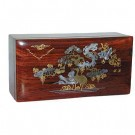 17cm Polished Mahogany Box - Birds and Flowers