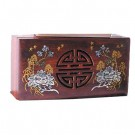 17cm Polished Mahogany Box - Shou Character
