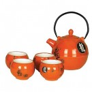 Orange Chinese Teapot & Cup Set
