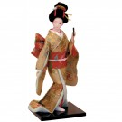 Lady in Gold Kimono Beautiful Japanese Oriental Geisha Doll Approx 30cm high.