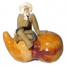 Chinese Figurine - Man with Pipe on Hulu Gourd - 5.5cm