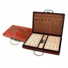 Mahjong in Leatherette Box - Bone and Bamboo Tiles
