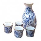 Sake Set - Blue and White with Floral Design