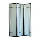 Black Framed Shoji Screen - irregular lattice design