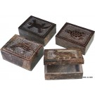 4 Animal Design Soapstone Jewelry Boxes