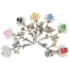 Crystal Rose - Silver Stem - in various colours