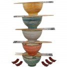 Chinese Rice Bowl Gift Set - Textured Bowls