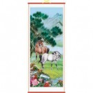 Two Horses in Meadow - Chinese Wall Scroll