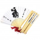 Chinese Paper Fans 5 Pack - Fu (Good Fortune) - White