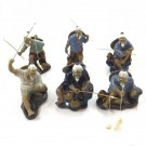 Fishermen - Set of 6 10cm Chinese Shiwan Figurines