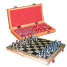 Chess Set: Wooden Board (31 x 32cm) Cast Metal Pieces